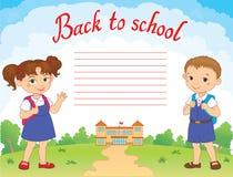 Banner terug naar het meisjesleerling van de schooljongen het van letters voorzien embleemvector Royalty-vrije Stock Fotografie