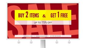 Banner with text design, buy two items and get one free. Billboard with sale poster isolated on white, 3D illustration. Discount action and marketing events Stock Images