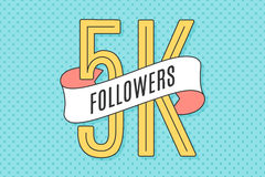 Banner with text Five thousand followers. 5K Followers. Banner with ribbon, text Five thousand followers. Design for social network, web, mobile app. Celebration stock illustration