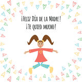 Banner with text Happy Mothers Day in Spanish language with cute jumping girl and hearts Stock Photo