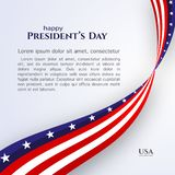 Banner text Happy President`s Day American flag ribbon stars stripes on a light background Patriotic American theme USA flag vector illustration
