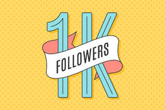 Banner with text One thousand followers. 1K Followers. Banner with ribbon, text One thousand followers. Design for social network, web, mobile app. Celebration Stock Illustration