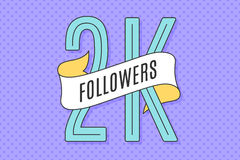 Banner with text Two thousand followers. 2K Followers. Banner with ribbon, text Two thousand followers. Design for social network, web, mobile app. Celebration royalty free illustration