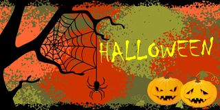 Banner on a theme of Halloween. Background with pumpkins on a Halloween theme Stock Photo