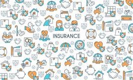 Banner on theme insurance. Flat line design banner on theme insurance. Insurance of life, house, money, health, car. Vector illustration Stock Image