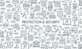 Banner on theme security2. Thin line design banner on theme security and protection. Internet security, data protection. Vector illustration Stock Photography