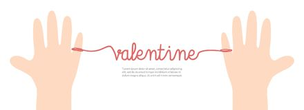 Banner thread red valentine on white background illustration vec. Tor. Love concept Stock Photos
