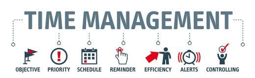 Banner time management concept illustration with symbols royalty free illustration