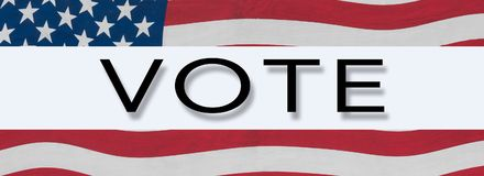 US Stars and Stripes banner around word VOTE stock photo