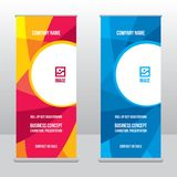 Roll-up banner template, stand design for exhibitions, presentations, seminars, modern business concept. Banner to place advertising information, photo, text Royalty Free Stock Photos