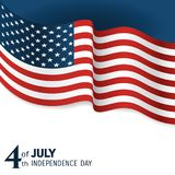 Banner to the US Independence Day. Waving flag of united states close-up on a blue and white background royalty free illustration