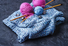 Banner with tool knitting Stock Photos