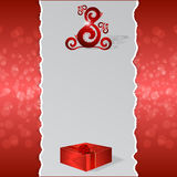 A banner with torn edges on a red background, with a red ornament in the form of eight and a red box. Royalty Free Stock Photography