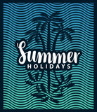 Banner on the tourism theme with palm tree and sea. Vector banner on the tourism theme with palm trees sea and the inscription summer holidays Stock Images
