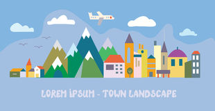 Banner with tourist town. Funny flat illustration royalty free illustration