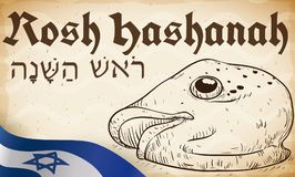 Hand Drawn Fish Head and Israel Flag for Rosh Hashanah, Vector Illustration. Banner with traditional fish head in hand drawn style over scroll paper and Israel`s Royalty Free Stock Photography