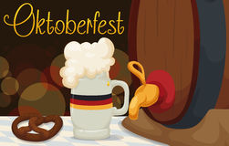 Banner with Traditional Food and Drink in Oktoberfest, Vector Illustration Royalty Free Stock Photo
