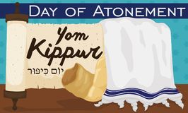 Scroll, Tallit and Shofar Horn to Celebrate Jewish Yom Kippur, Vector Illustration. Banner with traditional scroll, white tallit with blue stripes and shofar Royalty Free Stock Photos