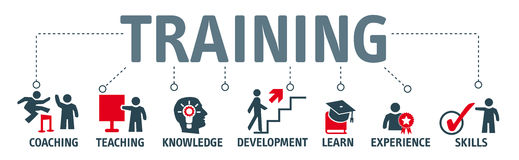 Banner Training and learning concept. Banner Training concept. Keywords and  icons Royalty Free Stock Images