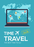 Banner of Travel Company. Illustration for Online flight booking service.Time travel. The best time to go. Banner of Travel Company. Online flight booking Stock Photo