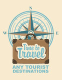 Banner with travel suitcase and compass Windrose Stock Images