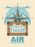 Banner with travel suitcase and compass Windrose Stock Image