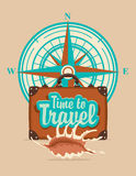 Banner with travel suitcase and compass Windrose Royalty Free Stock Photo