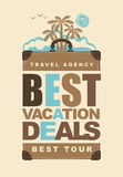 Banner on the travel theme with suitcase and palms. Travel suitcase with the words best vacation deals and landscape with palm trees on the island. Vector Stock Photo
