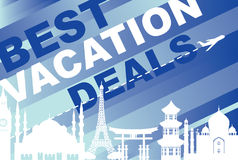 Banner for traveling with architectural landmarks. Vector banner best vacation deals for traveling with silhouettes of architectural landmarks and airplane on Stock Photos