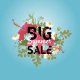 Banner tropical hibiscus flowers daisy ladybug crocus bouquet. With black fern Big Summer Sale sign. Vector illustration Stock Illustration