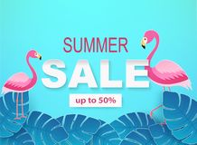 Banner with tropical leaves and flamingos in blue colors. stock illustration