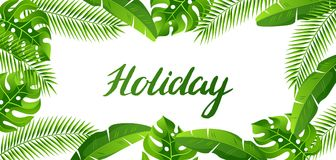 Banner with tropical palm leaves. Exotic tropical plants. Illustration of jungle nature.  stock illustration