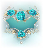 Banner with turquoise roses Stock Image