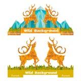 Banner twee verfrommelde document achtergrond met zich herten het verzetten en bos en bergen op horizon Royalty-vrije Stock Afbeelding