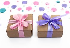 Banner Two Gift boxes on festive background of pastel confetti. Flat top view Stock Image