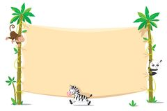 Banner on two palm tree with small funny animals stock illustration