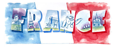 Banner typography France flagwater color illustration Stock Photos