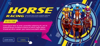 Banner. Universal template for a web site with text, buttons. Jockey on horse. Horse racing. Hippodrome. Racetrack. Jump stock photos