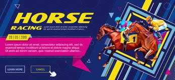Banner. Universal template for a web site with text, buttons. Jockey on horse. Horse racing. Hippodrome. Racetrack. Jump royalty free stock image