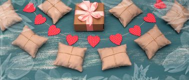 Banner Valentine`s day background with Decorative composition garland on painted wood background. Top view Flat lay royalty free stock images