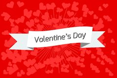Banner or Valentine`s Day card on a red background stock illustration