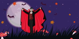 Banner with a vampire to halloween. Vector template. Banner with a vampire to halloween. Vector image vector illustration