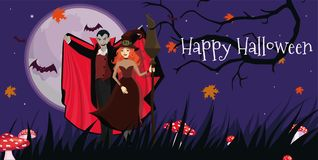 Banner with the Vampire and the witch to the Halloween party. Vector template. Banner with the Vampire and the witch to the Halloween party. Vector image stock illustration