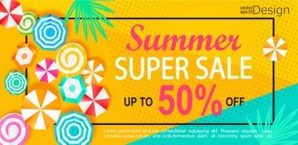 Banner van de de zomer de super verkoop stock illustratie