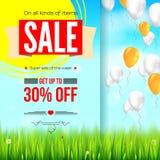 Banner van de de zomer de verkopende advertentie, uitstekend tekstontwerp De kortingen van de dertig percentenvakantie, verkoopac stock illustratie