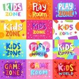Banner van de de jonge geitjesspeelkamer van de spelruimte speelt de vector in beeldverhaalstijl voor kinderen de illustratiereek vector illustratie
