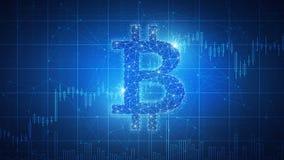 Banner van de technologie de futuristische hud van het Bitcoinmuntstuk blockchain Royalty-vrije Stock Fotografie