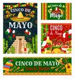 Banner van de de vakantieuitnodiging van Cinco de Mayo de Mexicaanse