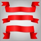 Banner van het bedrijfssymmetrie de rode lint Stock Afbeelding