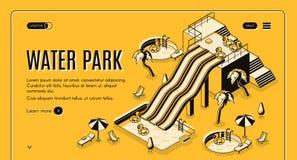 Banner van het de aantrekkelijkheden de isometrische vectorweb van het waterpark vector illustratie